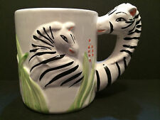 Vintage Collectible WBI Zebra Head Handle Safari Animal Coffee Tea Mug Cup 14 oz