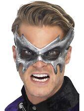 Mens Grey Halloween Phantom Masquerade Fancy Dress Costume Silver Eye Mask 26800