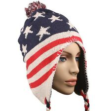 USA Patriotic American Flag Cuffed Chullo Cap Beanie Knit Winter Stocking Hat 5