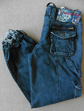 RIVER ISLAND SLOUCH ELASTICATED JEANS 8S (34S) W26 L30 WOMENS BLUE 26 30