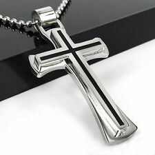 Unisex's Mens Black Silver Stainless Steel Cross Pendant Necklace Chain as Gift