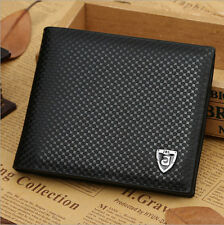 Men Leather Wallet Bifold Credit Card Holder Brand Purse Money Clip black one