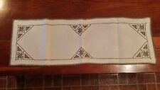 VINTAGE BROWN LINEN DRAWN WORK HAND EMBRIODERY RUNNER FREE SHIPPING