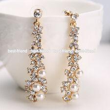 Fashion Women Lady's Crystal Pearl Rhinestone Dangle Chandelier Earrings Jewelry