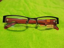 Borghese Reading Glasses +1.75 1/2 metal Rim Brown w Rusty Orange Arm (#6)