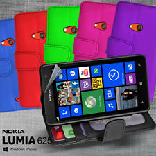 6 Colour Side ID Wallet Leather Case Cover for Nokia Lumia 625 + Screen Guard