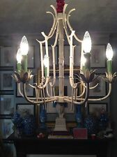 Faux Bamboo Pagoda Cage Chinese Chippendale Tole Lotus Chinoiserie Chandelier