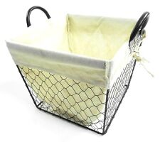 Black Strong Deep Wire Mesh Kitchen Fruit Storage Basket Cloth Lining & Handle