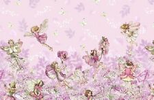 Michael Miller Flower Fairies. Petal Flowers Border Fabric in Pink. Fairy.Per FQ