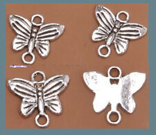 Wholesal 40 pcs Tibet silver charm butterfly earrings pendant connector pendant