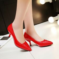 Ladies Womens Patent Leather Mid Heel Pointed Toe Pumps Shoes UK Size 1--10 C96