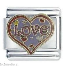 LARGE LOVE HEART - DAISY CHARM Italian Charms for classic size bracelet