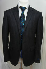 RALPH LAUREN 2 PC PIECE CHARCOAL CHALK STRIPE FLANNEL WOOL SUIT 42 R WIDE STRIPE