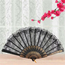 Black Spanish Style Dance Party Wedding Lace Silk Folding Hand Held Flower Fan *
