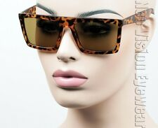 Large Flat Top Retro Sunglasses Square Hipster Brown Glass Tortoise BR P336