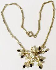 collier vintage couleur or tube déco relief cristal diamant émail 4278