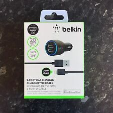 BELKIN 2.1A DUAL TWIN USB CAR CHARGER IPAD IPHONE 6 PLUS 5S 5C 4S SAMSUNG HTC LG