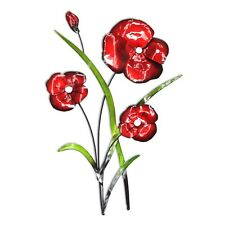 Contemporary Red Poppies Flower with Green Leaves Metal Wall Art Sculpture Poppy