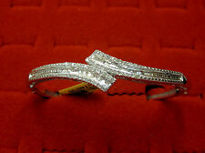 Natural Real 1/2 CTW Round Baguette Diamond Bangle Bypass Bracelet Silver 7.5""