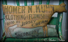 primitive antique old cow pillow dry goods store advertisement sign general farm