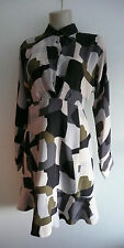 Nwt paul & joe 100% soie abstrait robe imprimée fr38