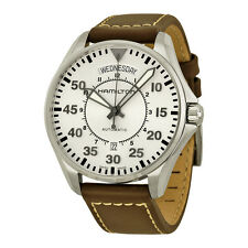 Hamilton Khaki Aviation Pilot Automatic Silver Dial Brown Leather Mens Watch
