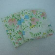 Pink Blue Floral 2 Pillowcases Pastel Colors on White JC Penney No Iron Percale