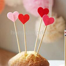 50pcs Wood Heart Pattern Picks Stick Felt Toothpick Cocktail Sandwich Decor