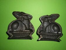 Antique Toy Candy Mold Chocolate Mold Rabbit in Basket OLD IRON RARE!!! *2