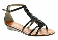 Ladies UK 8 SAM EDELMAN Black Daley Beaded/Sequin Sandals (New) RRP £106.00