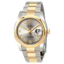 Rolex Datejust Rhodium Dial Steel 18K Yellow Gold Automatic Mens Watch 116203
