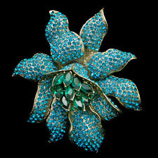 Art Deco Large Orchid Flower Brooch Pin Blue Austrian Crystal Gold Tone E987