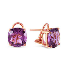 7.2 Carat 14K Solid Rose Gold Cushion Amethyst Earrings