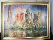 City Scape oil painting signed colorful fireworks lights tall buildings MCM art