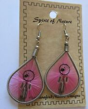 Earrings  Spirit of Nature thread - DREAM CATCHER -pink background french wire