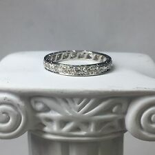 Vintage Estate Platinum Diamond Round Eternity Band Ring - Size 7.25