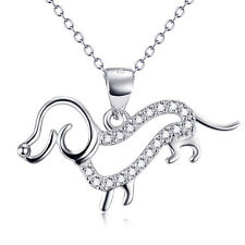 925 Sterling Silver Dachshund Dog Pendant Necklace with CZ animal Pet jewelry