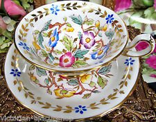 ROYAL CHELSEA TEA CUP AND SAUCER LARGE WIDE MOUTH TEACUP PAINTED CHINTZ FLORAL