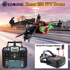 Eachine Racer 250 Racing RTF RC Drone Quadcopter+VR D2 40CH FPV Goggles Glasses