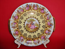 EARLY Royal Vienna Fragonard Courting Couple Porcelain Plate Charger w/ Handles