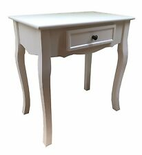 White Wooden Dressing Table / Telephone Side Table with Drawer End Table Plant