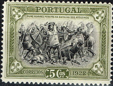 Portugal Battle of Atoleiros scene classic stamp 1928 MLH
