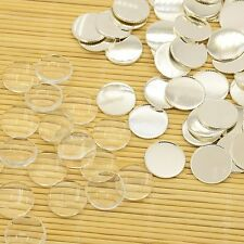 10Sets Brass Cabochon Cameo Settings Flat Round Clear Glass Cabochon Jewelry DIY