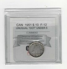 **1951 Dot under 5** Coin Mart Graded Canadian,  10  Cent, **F-12**