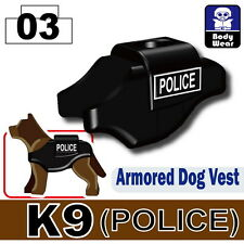 Police K9 Vest (W101) with custom tactical vest  made with real LEGO® dog