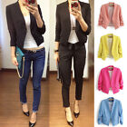 2016 Women Lady Fashion Slim Candy Color 3/4 Sleeve Blazer Suit Jacket Coat Tops