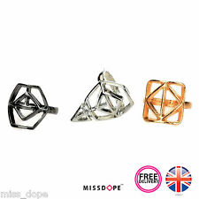NEW 3 Piece Vintage Gold Silver Black Finger Rings Punk Knuckle Midi  Womens UK