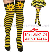 Costume Fancy Dress Stockings Sunflower Yellow Black Stripes  Honey Queen Bee