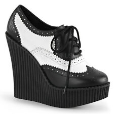 CREEPER-307 GOTH PUNK BIKER WING TIP GANGSTER STYLE LACE UP WEDGE PLATFORM