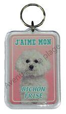 """Porte clé chien """"J'aime mon Bichon Frisé"""" chien idée cadeau pas cher NEUF"""